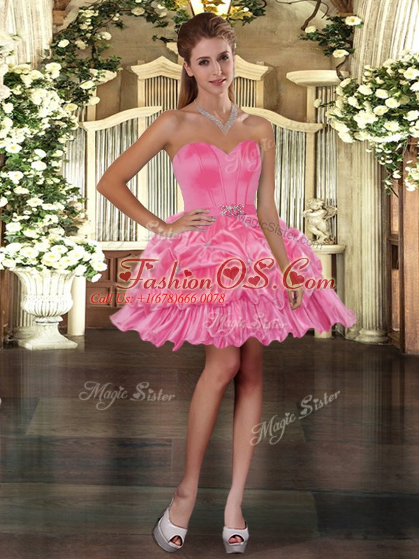 Lovely Organza Sweetheart Sleeveless Lace Up Beading and Pick Ups Prom Gown in Rose Pink