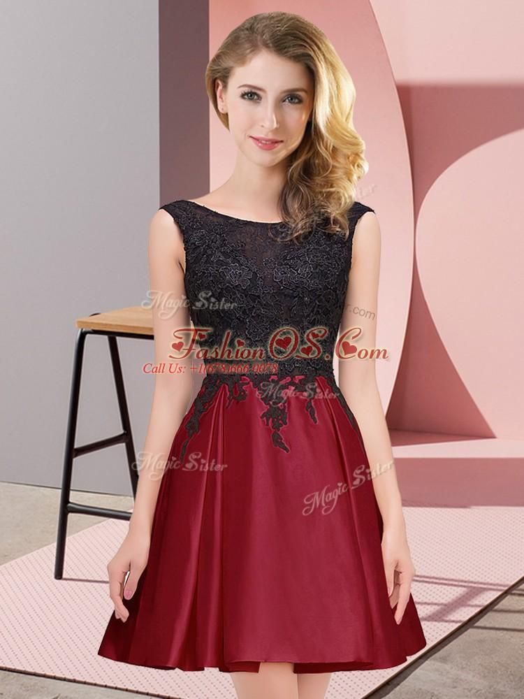 Glittering Scoop Sleeveless Dama Dress Mini Length Lace Wine Red Satin