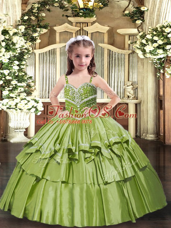 Olive Green Ball Gowns Beading and Ruffled Layers Kids Pageant Dress Lace Up Taffeta Sleeveless Floor Length