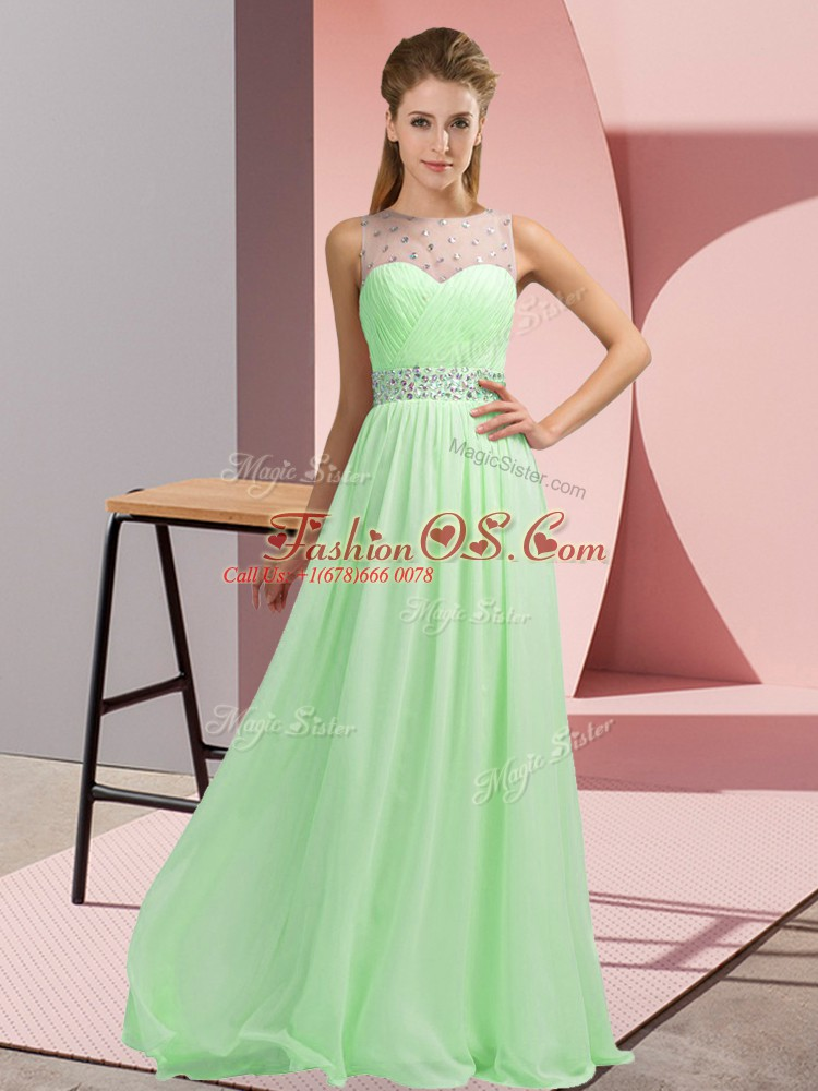 Edgy Scoop Sleeveless Mother Of The Bride Dress Floor Length Beading Chiffon