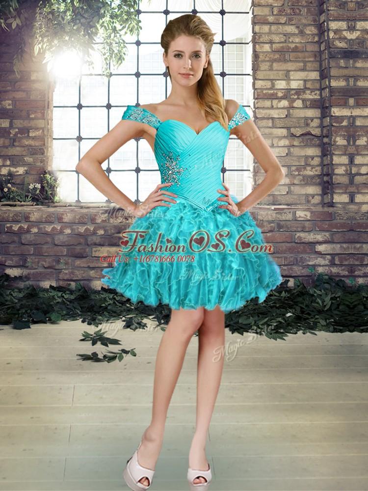 Colorful Aqua Blue Sleeveless Beading and Ruffles Mini Length Club Wear