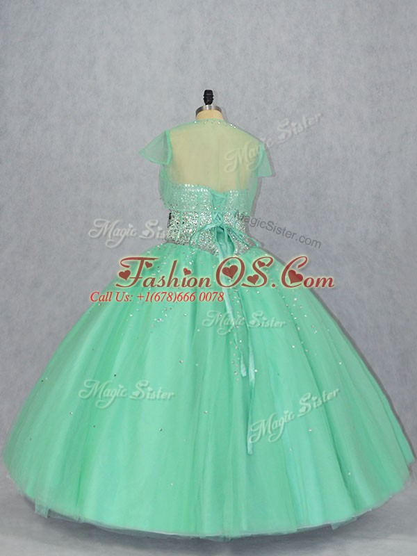 Amazing Sleeveless Lace Up Floor Length Beading Quince Ball Gowns