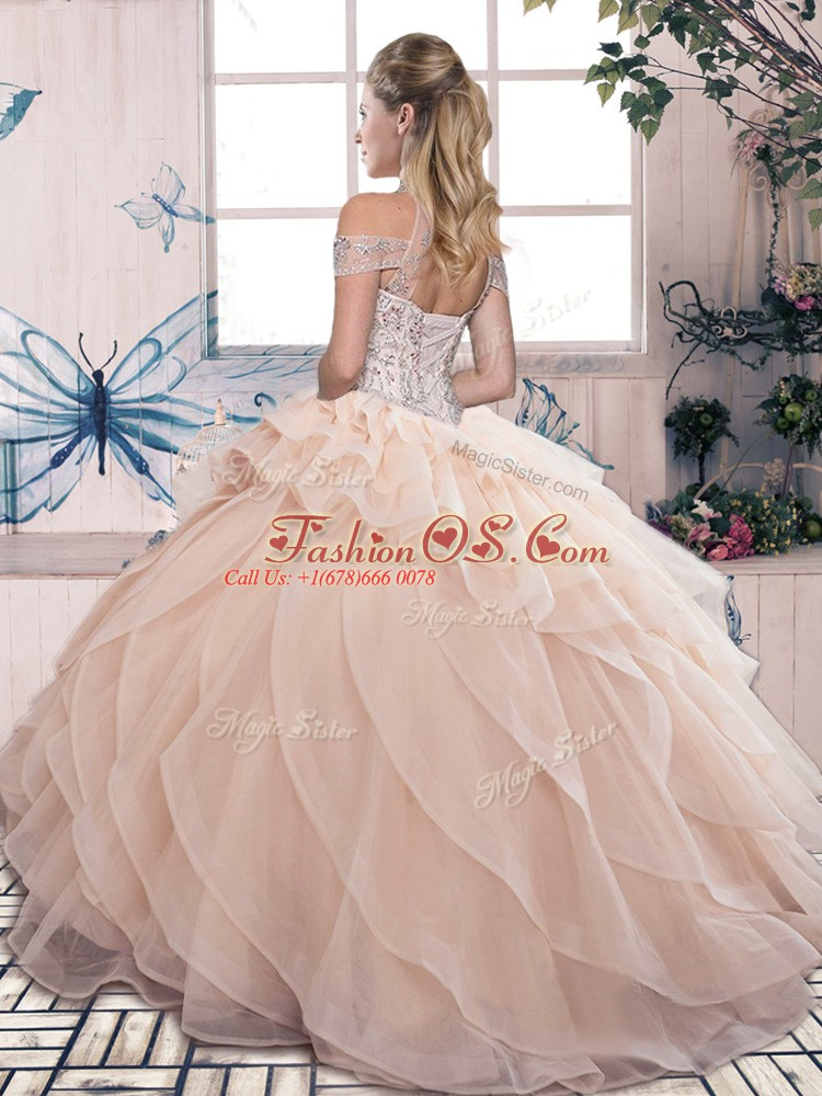 Olive Green Ball Gowns Organza High-neck Sleeveless Beading and Ruffled Layers Floor Length Lace Up 15 Quinceanera Dress