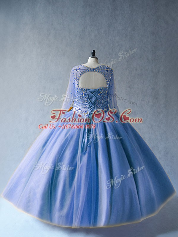 Superior Scoop Long Sleeves Quinceanera Dresses Floor Length Beading Blue Tulle