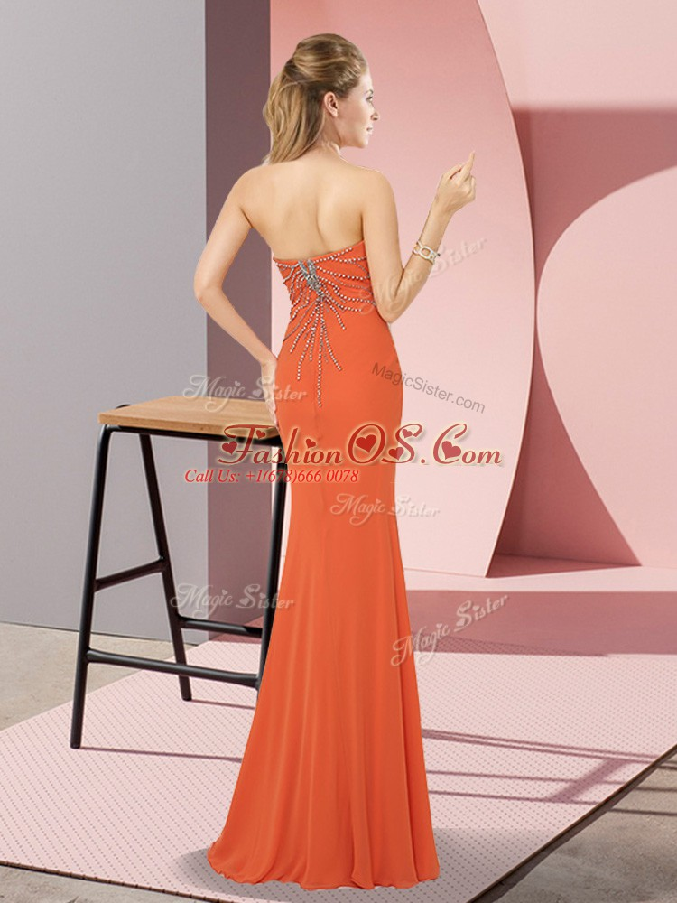 Gold Column/Sheath Beading Prom Gown Zipper Chiffon Sleeveless Floor Length