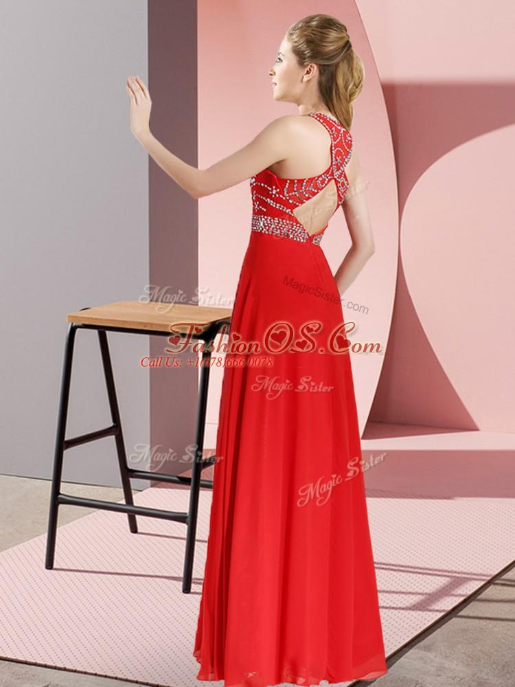 Dark Green Chiffon Backless Prom Gown Sleeveless Floor Length Beading