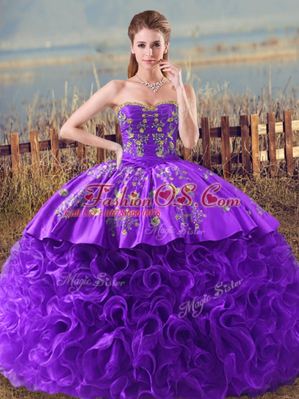 Purple Sleeveless Fabric With Rolling Flowers Brush Train Lace Up Quince Ball Gowns for Sweet 16 and Quinceanera