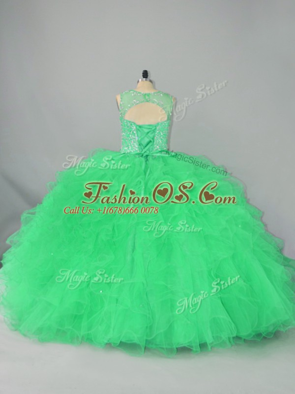 Lovely Sleeveless Floor Length Beading and Ruffles Lace Up Sweet 16 Dress with Green