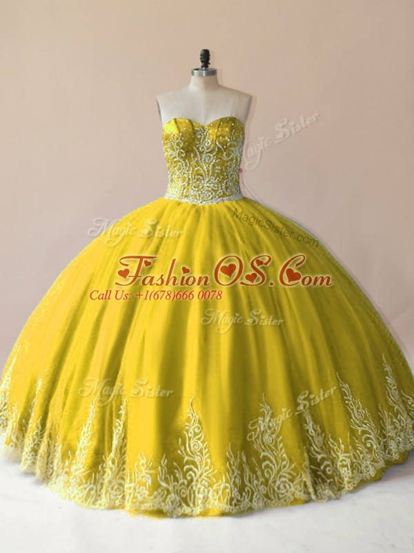 Charming Olive Green Lace Up Vestidos de Quinceanera Embroidery Sleeveless Floor Length