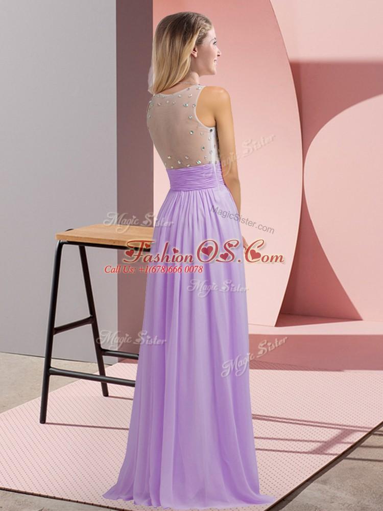 Luxurious Scoop Sleeveless Side Zipper Vestidos de Damas Aqua Blue Chiffon