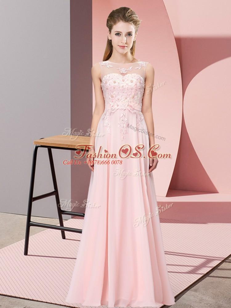 On Sale Floor Length Baby Pink Court Dresses for Sweet 16 Scoop Sleeveless Zipper