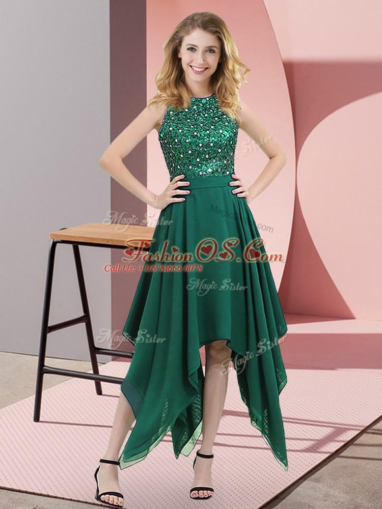 Beading and Sequins Prom Evening Gown Dark Green Zipper Sleeveless Asymmetrical