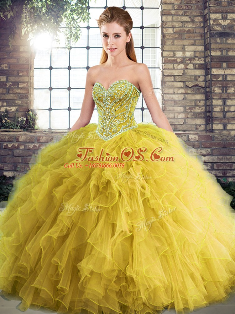 Sleeveless Floor Length Beading and Ruffles Lace Up Quinceanera Gown with Gold