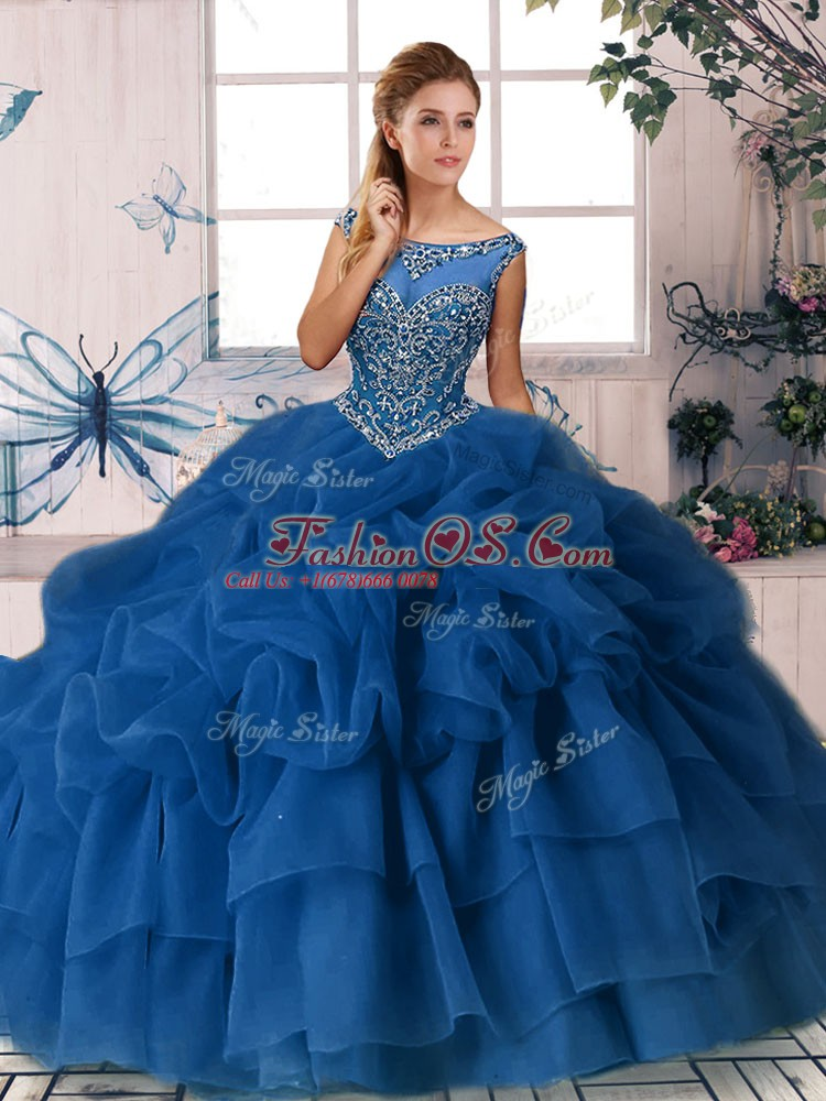 Royal Blue Sleeveless Beading and Pick Ups Zipper Sweet 16 Quinceanera Dress