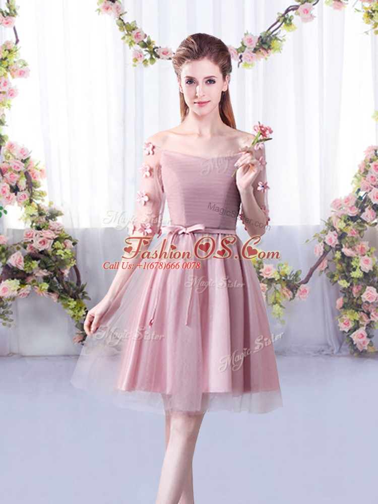 Beautiful Pink Tulle Lace Up Vestidos de Damas Half Sleeves Knee Length Belt