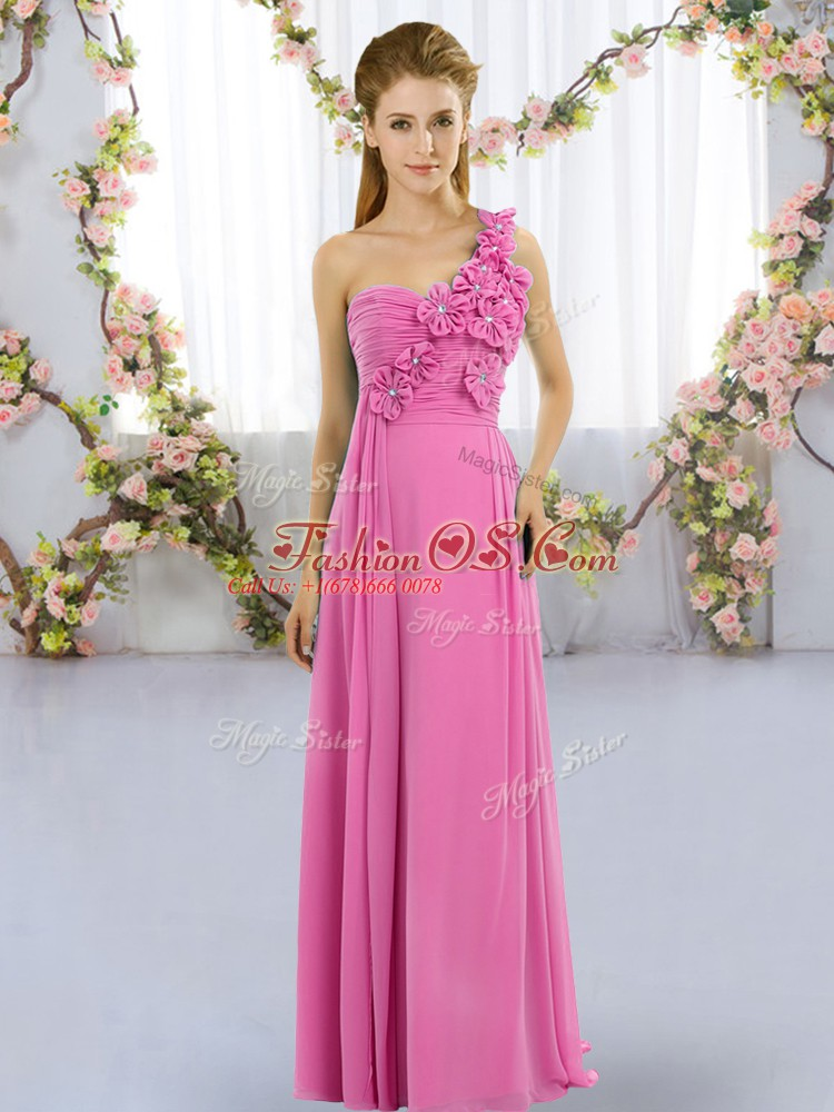 Rose Pink Vestidos de Damas Wedding Party with Hand Made Flower One Shoulder Sleeveless Lace Up
