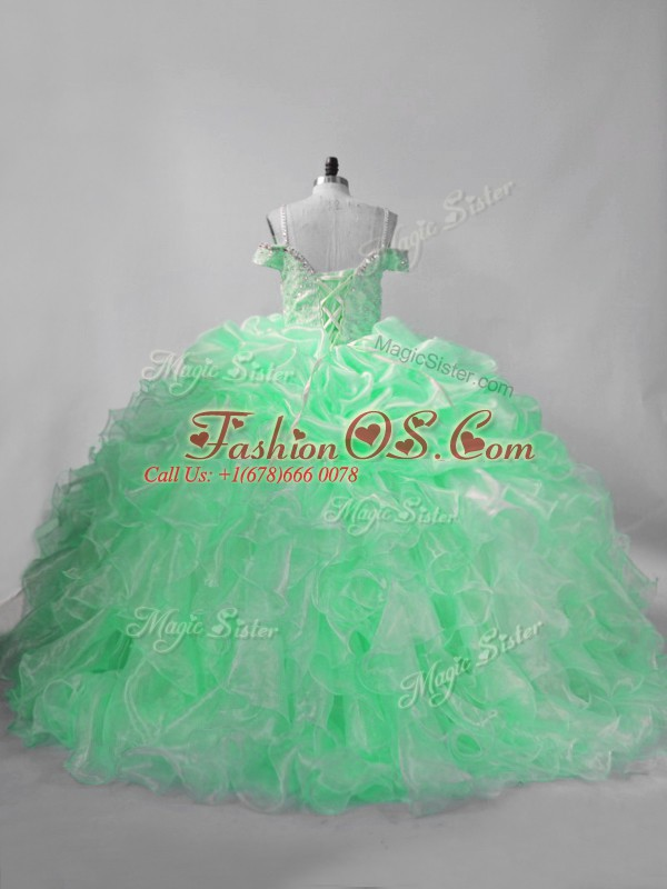 Trendy Straps Sleeveless Lace Up Sweet 16 Dresses Apple Green Organza
