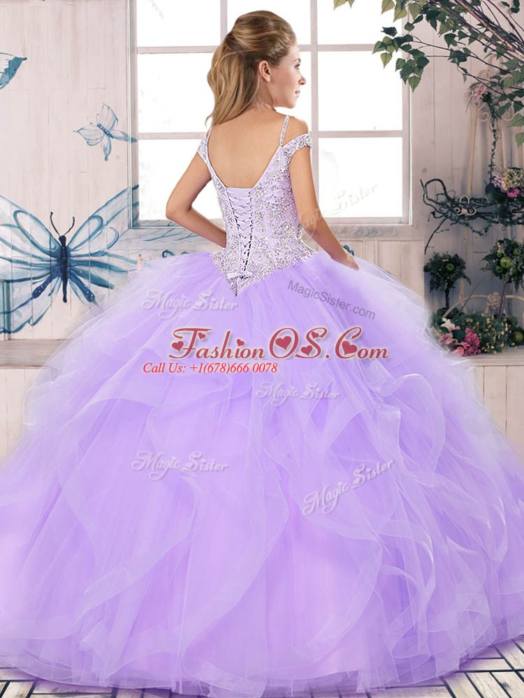 Brown Ball Gowns Off The Shoulder Sleeveless Tulle Floor Length Lace Up Beading and Ruffles Sweet 16 Quinceanera Dress