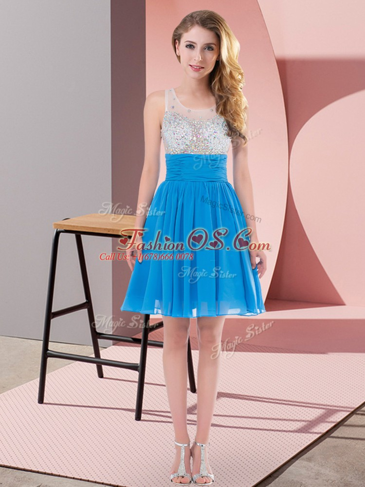 Mini Length Side Zipper Quinceanera Dama Dress Baby Blue for Wedding Party with Beading