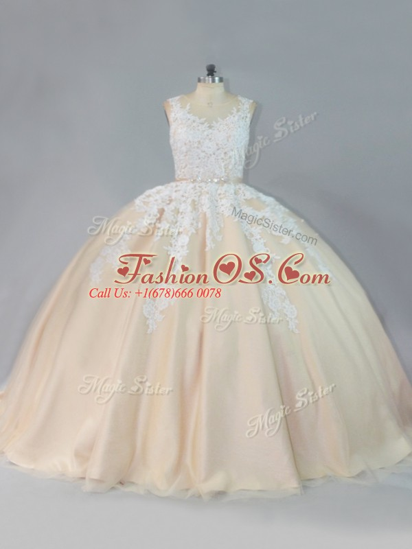 Court Train Ball Gowns Sweet 16 Dresses Champagne Scoop Tulle Sleeveless Zipper