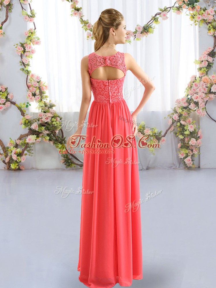 Sleeveless Chiffon Floor Length Zipper Dama Dress for Quinceanera in with Lace