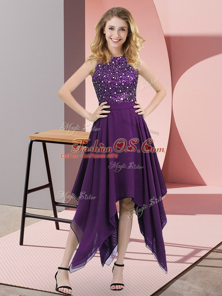 Purple Empire Chiffon High-neck Sleeveless Beading and Sequins Asymmetrical Zipper Dress for Prom
