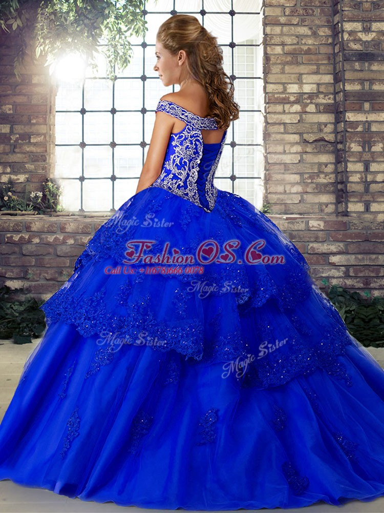 Cute Brush Train Ball Gowns Sweet 16 Dresses Fuchsia Off The Shoulder Tulle Sleeveless Lace Up