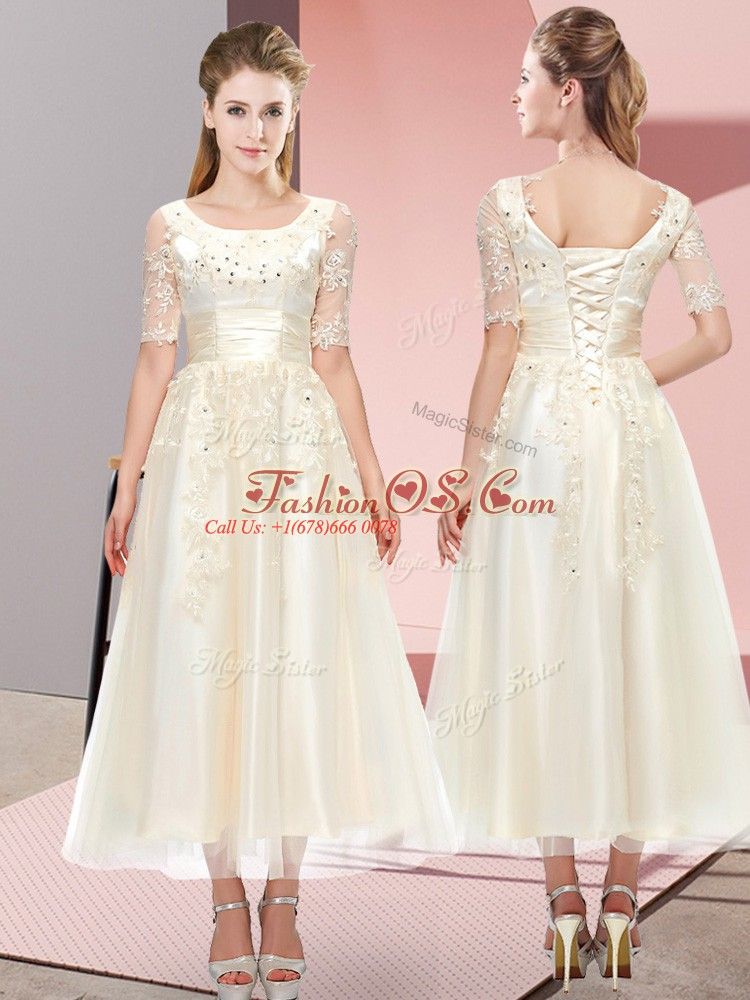 Dramatic Tea Length Champagne Bridesmaid Gown Scoop Short Sleeves Lace Up