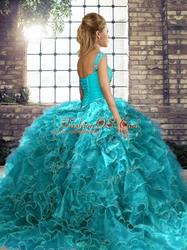 Lavender Quinceanera Gown Military Ball and Sweet 16 and Quinceanera with Beading and Ruffles Off The Shoulder Sleeveless Brush Train Lace Up