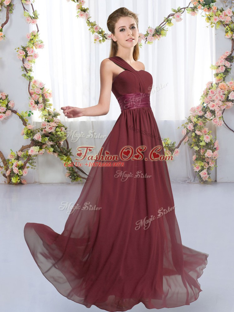 Ruching Quinceanera Court of Honor Dress Burgundy Lace Up Sleeveless Floor Length
