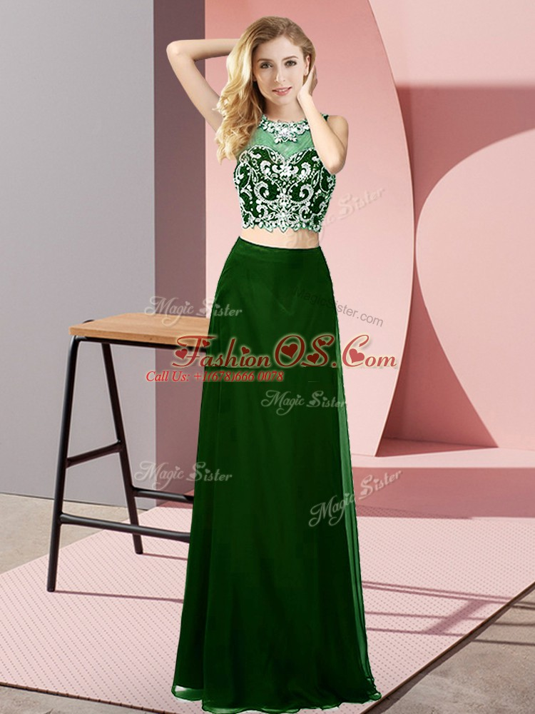 Gorgeous Dark Green Two Pieces Chiffon Scoop Sleeveless Beading Floor Length Backless Prom Party Dress