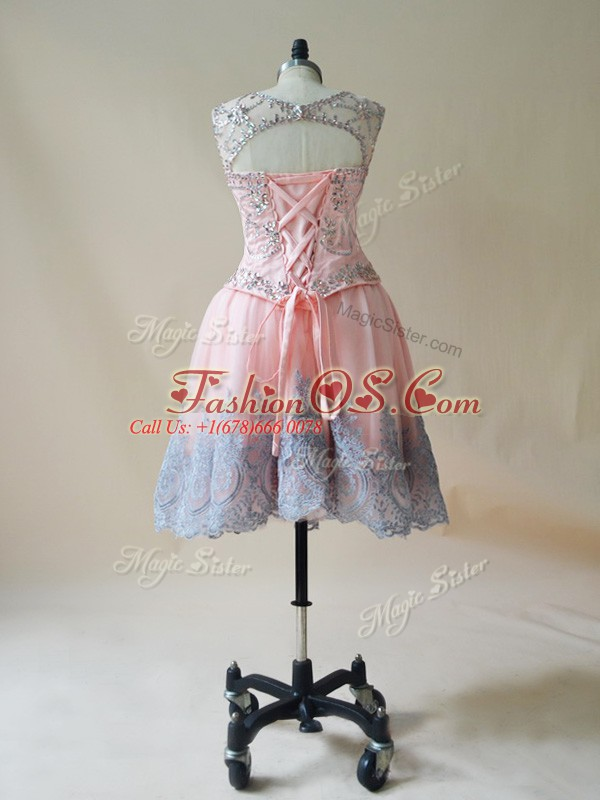 Suitable Scoop Sleeveless Tulle Prom Party Dress Beading and Appliques Lace Up