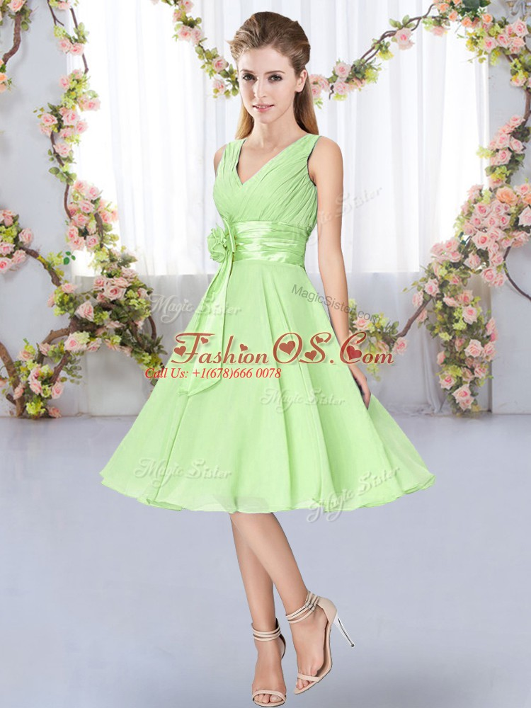 Inexpensive Chiffon V-neck Sleeveless Lace Up Hand Made Flower Damas Dress in Yellow Green