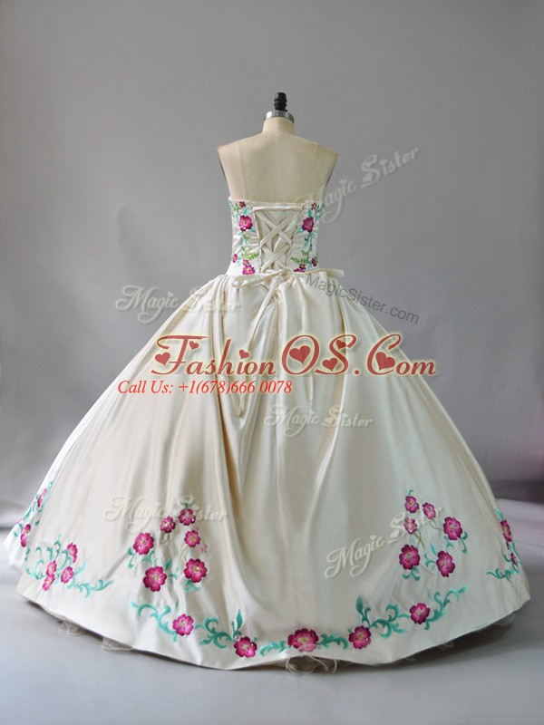 Vintage Champagne Satin and Tulle Lace Up Quinceanera Dresses Sleeveless Floor Length Embroidery