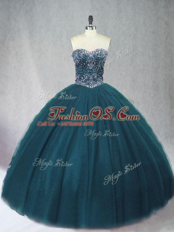 Trendy Floor Length Peacock Green Sweet 16 Dresses Tulle Sleeveless Beading