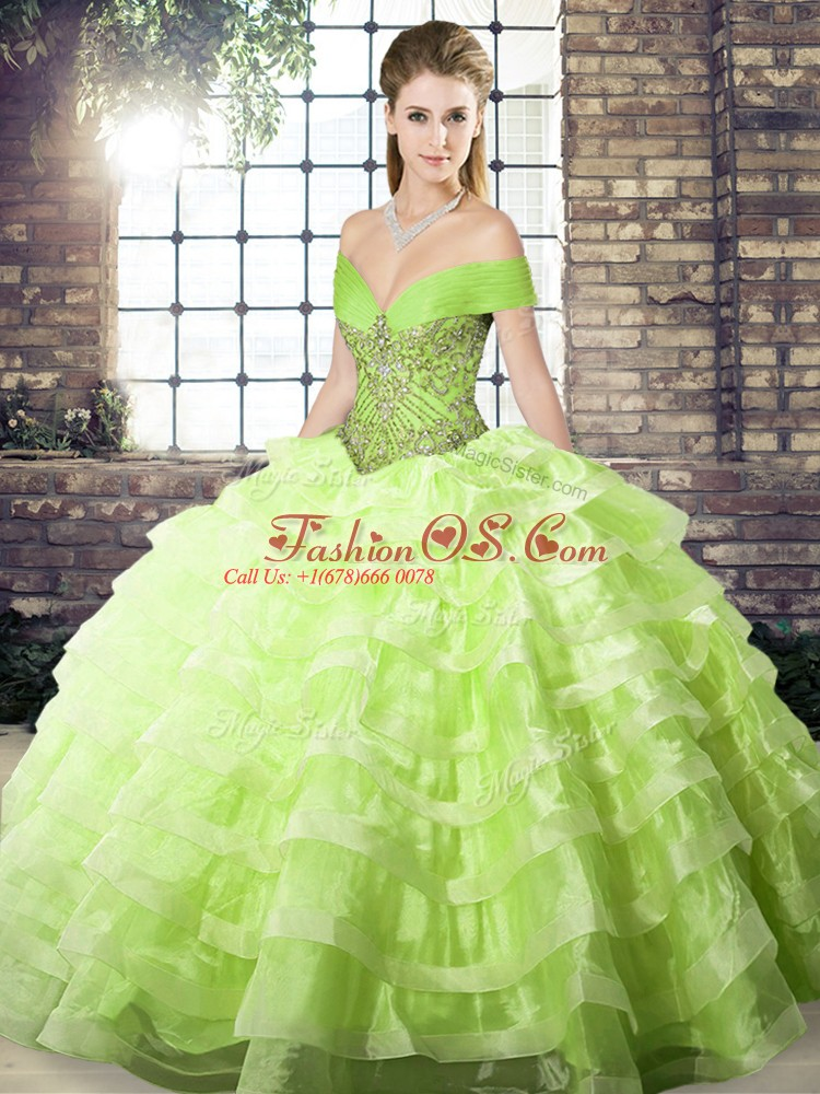High Quality Brush Train Ball Gowns 15 Quinceanera Dress Yellow Green Off The Shoulder Organza Sleeveless Lace Up
