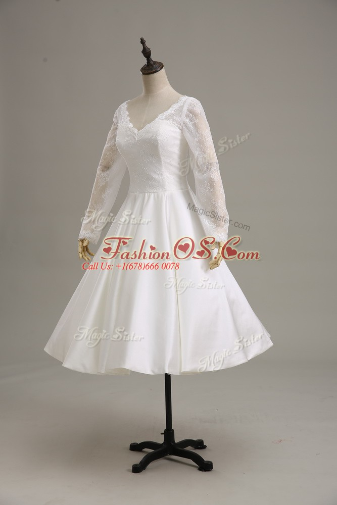White Ball Gowns Lace and Sashes ribbons Wedding Dress Clasp Handle Satin Long Sleeves Tea Length