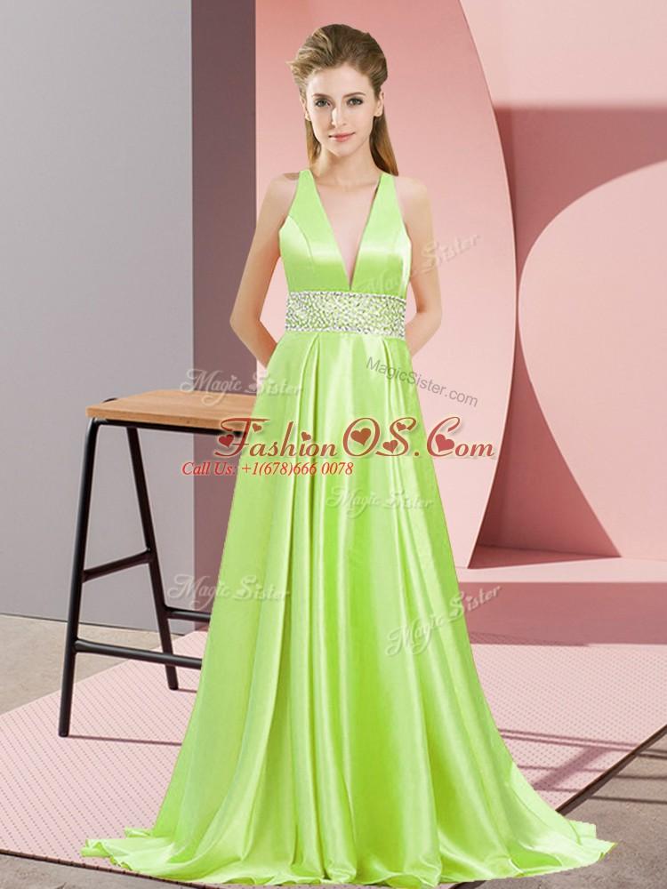 Yellow Green Elastic Woven Satin Backless V-neck Sleeveless Prom Dress Brush Train Beading
