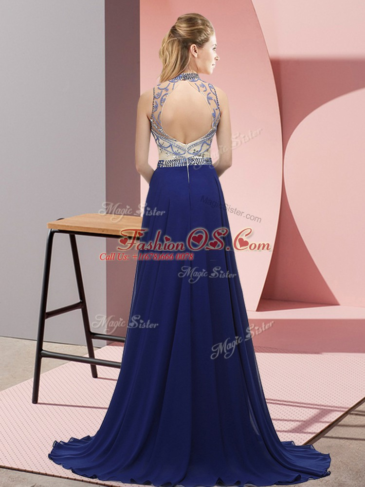 Exquisite Blue Mother Of The Bride Dress Halter Top Sleeveless Brush Train Backless