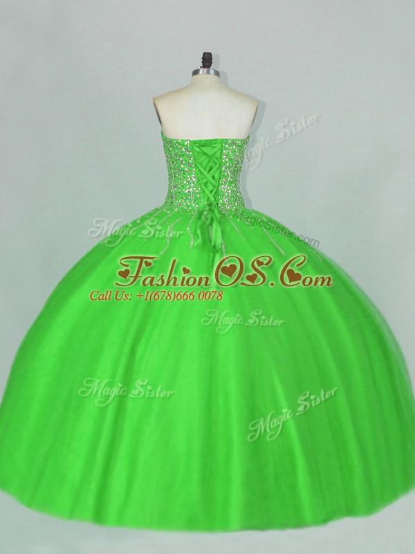 Customized Sweetheart Sleeveless Quinceanera Dresses Floor Length Beading Green Tulle