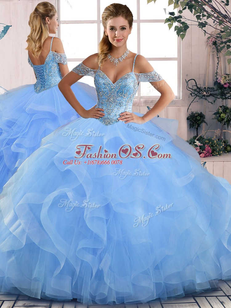 Sexy Floor Length Blue Quince Ball Gowns Off The Shoulder Sleeveless Lace Up