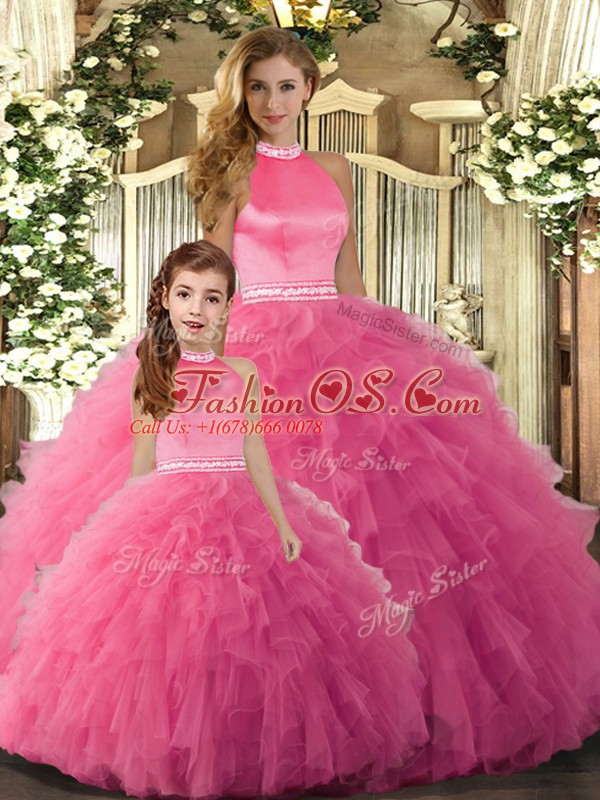 Exceptional Hot Pink Tulle Backless Ball Gown Prom Dress Sleeveless Floor Length Beading and Ruffles