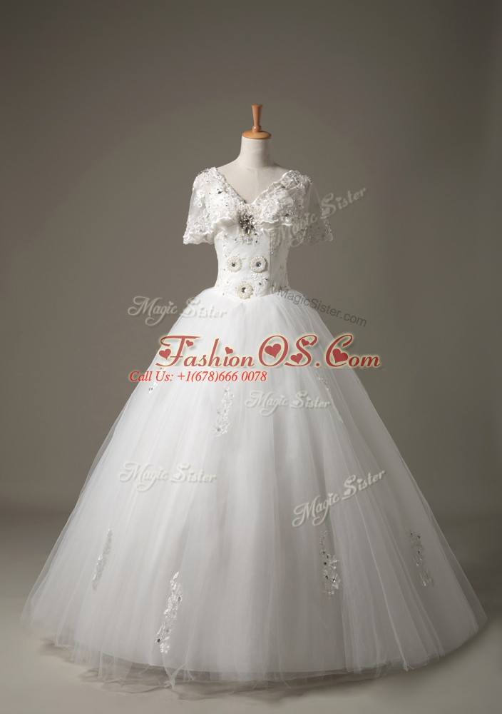 Stunning White Wedding Dress Beach with Beading and Appliques V-neck Short Sleeves Lace Up