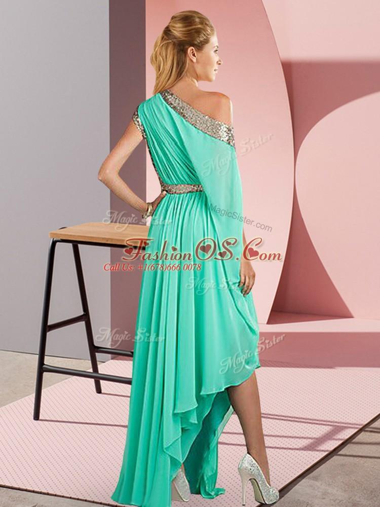 Lavender Sleeveless Sequins Asymmetrical Prom Dress