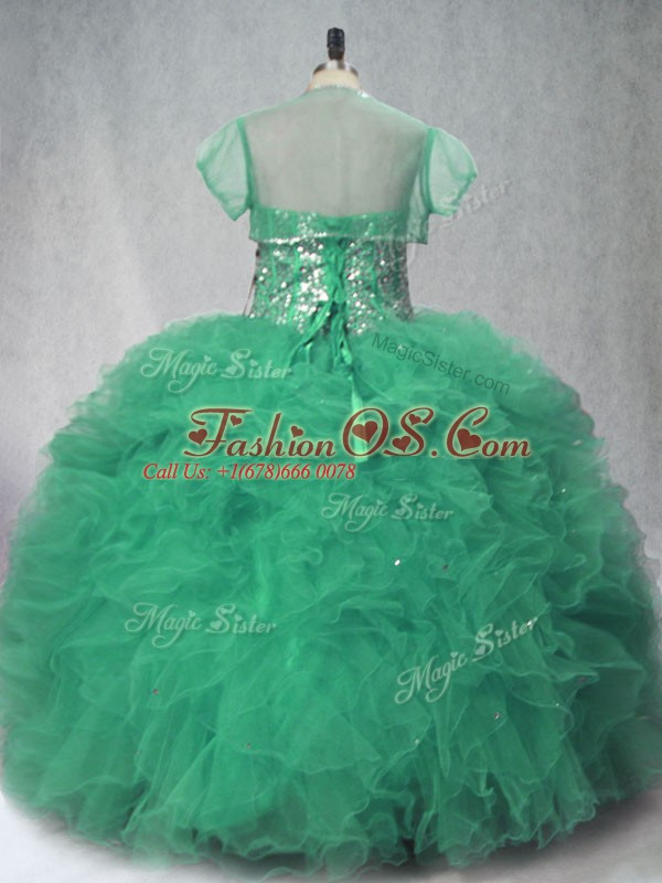 Affordable Floor Length Green Sweet 16 Quinceanera Dress Tulle Sleeveless Beading and Ruffles