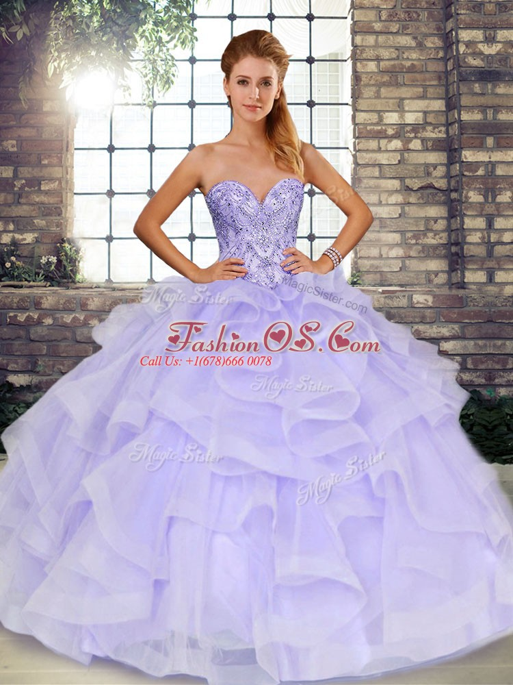 Sexy Lavender Ball Gown Prom Dress Military Ball and Sweet 16 and Quinceanera with Beading and Ruffles Sweetheart Sleeveless Lace Up
