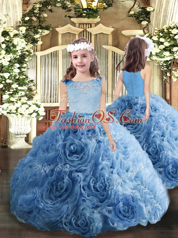 Gorgeous Floor Length Baby Blue 15 Quinceanera Dress Fabric With Rolling Flowers Sleeveless Lace