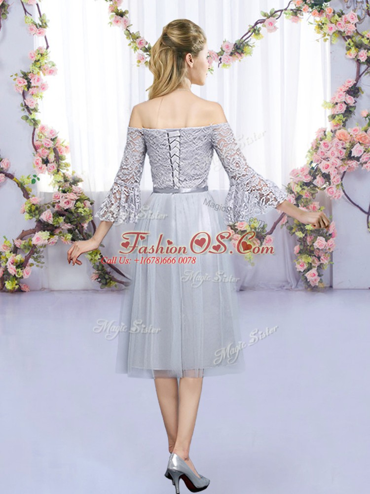 High Quality Grey Empire Tulle Off The Shoulder 3 4 Length Sleeve Lace and Belt Tea Length Lace Up Damas Dress