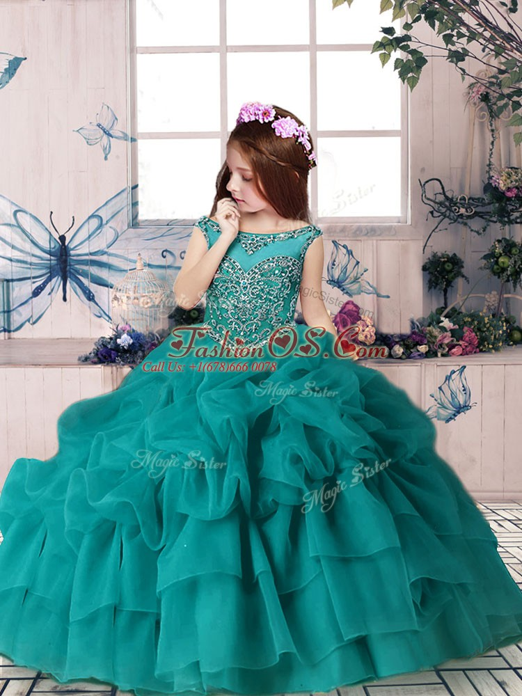High End Floor Length Teal Pageant Dress Toddler Organza Sleeveless Beading and Pick Ups