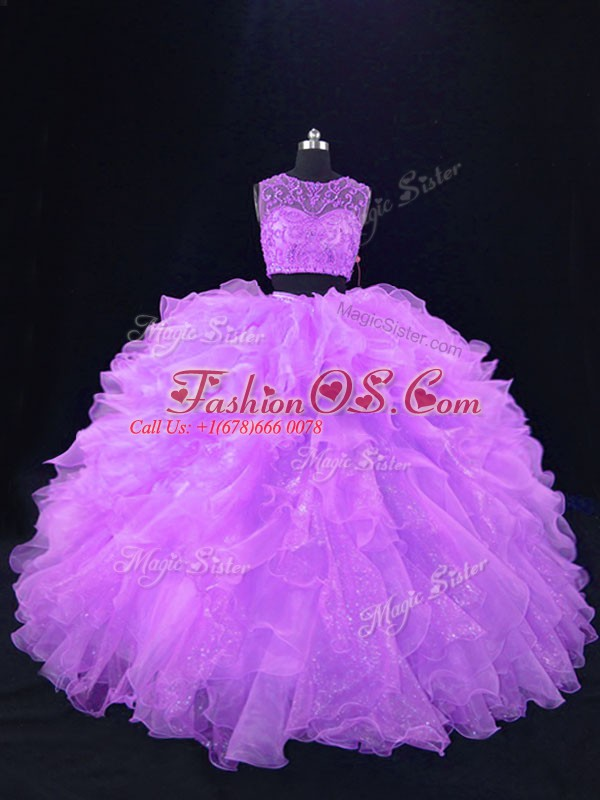 Low Price Two Pieces Quinceanera Dress Lavender Scoop Organza Sleeveless Floor Length Zipper